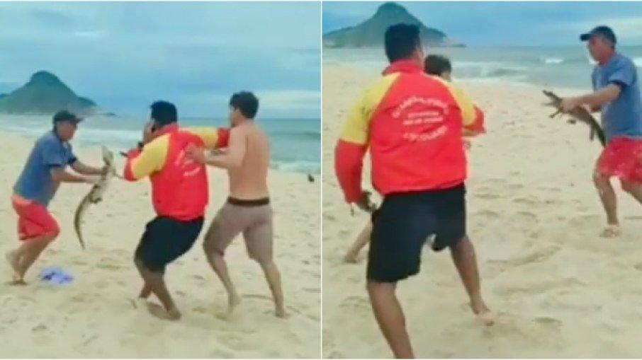 Homem usa jacaré para ameaçar outras pessoas durante briga em praia no Rio; VÍDEO